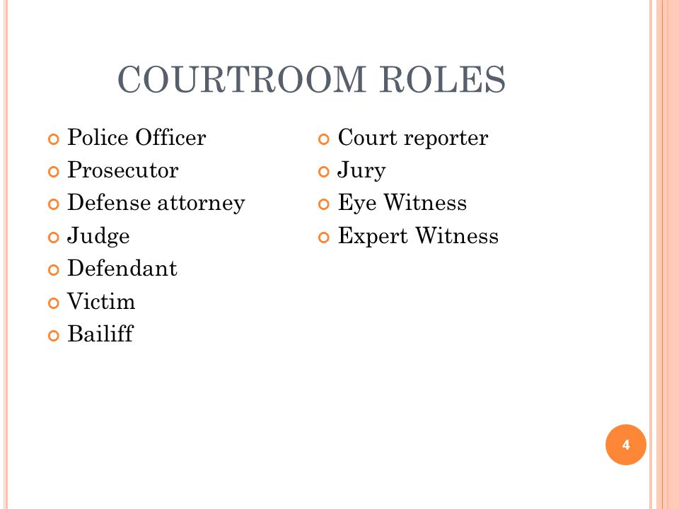 courtroom roles Police Officer Court reporter Prosecutor Jury