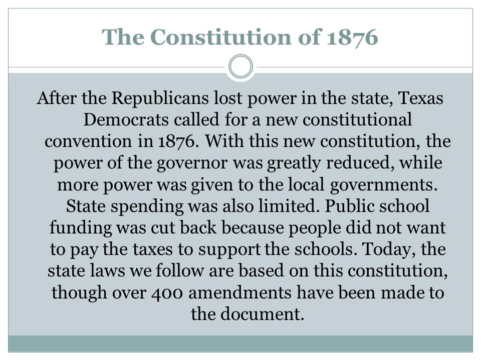 The Constitution of 1876