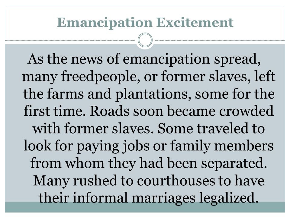 Emancipation Excitement