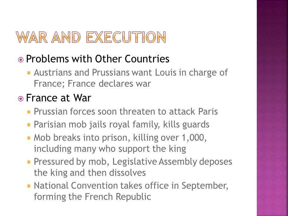 War and execution Problems with Other Countries France at War