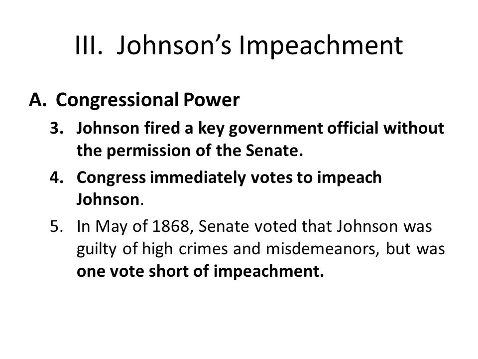III. Johnson's Impeachment