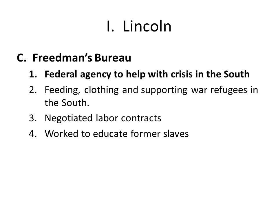 I. Lincoln Freedman's Bureau