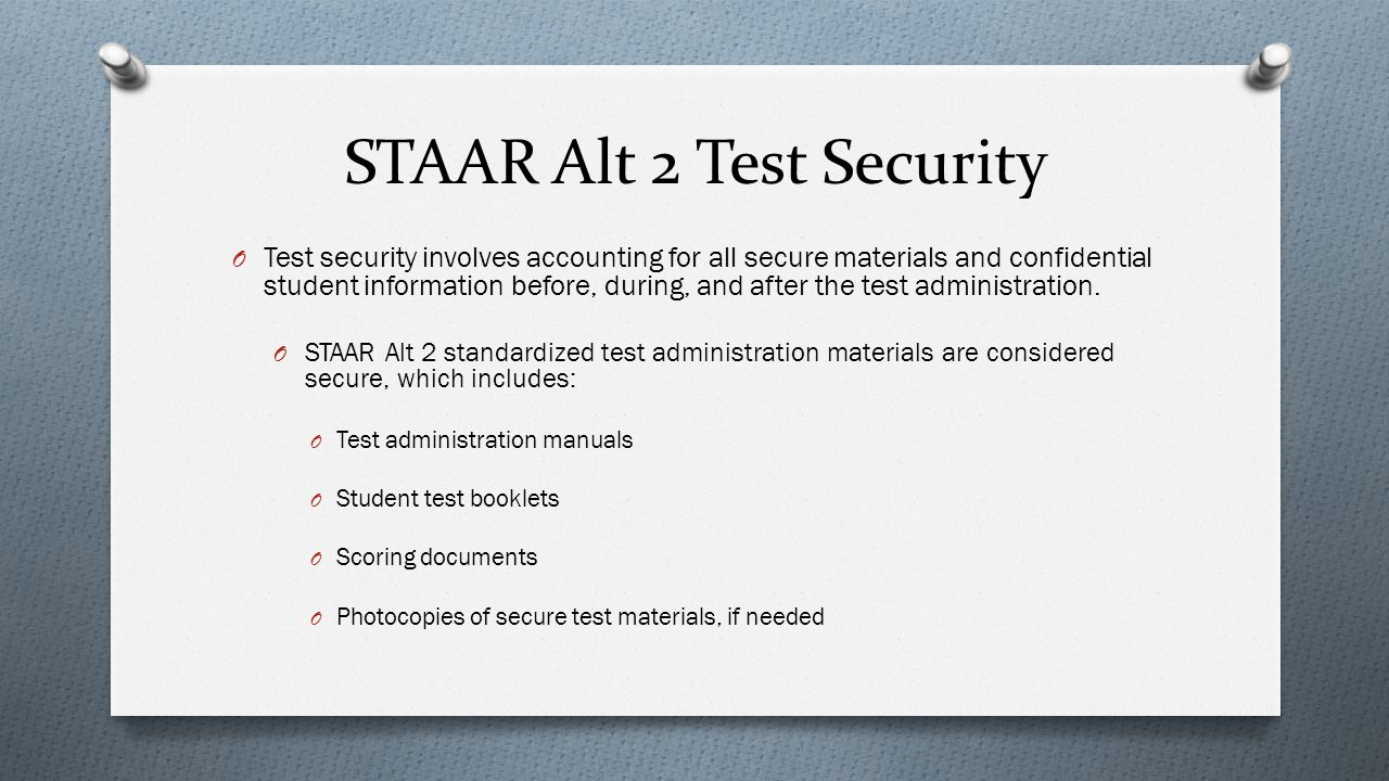 STAAR Alt 2 Test Security