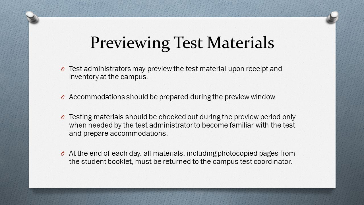 Previewing Test Materials