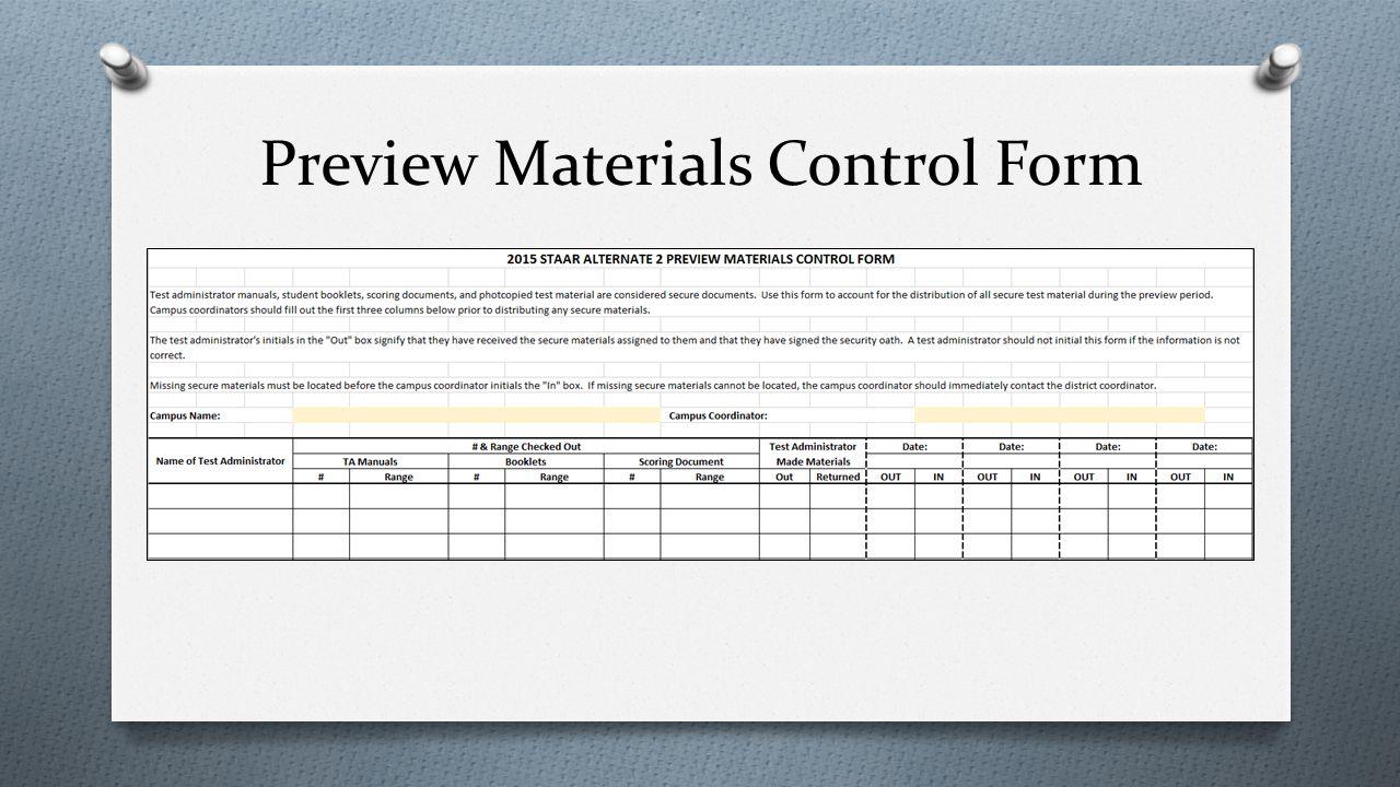 Preview Materials Control Form