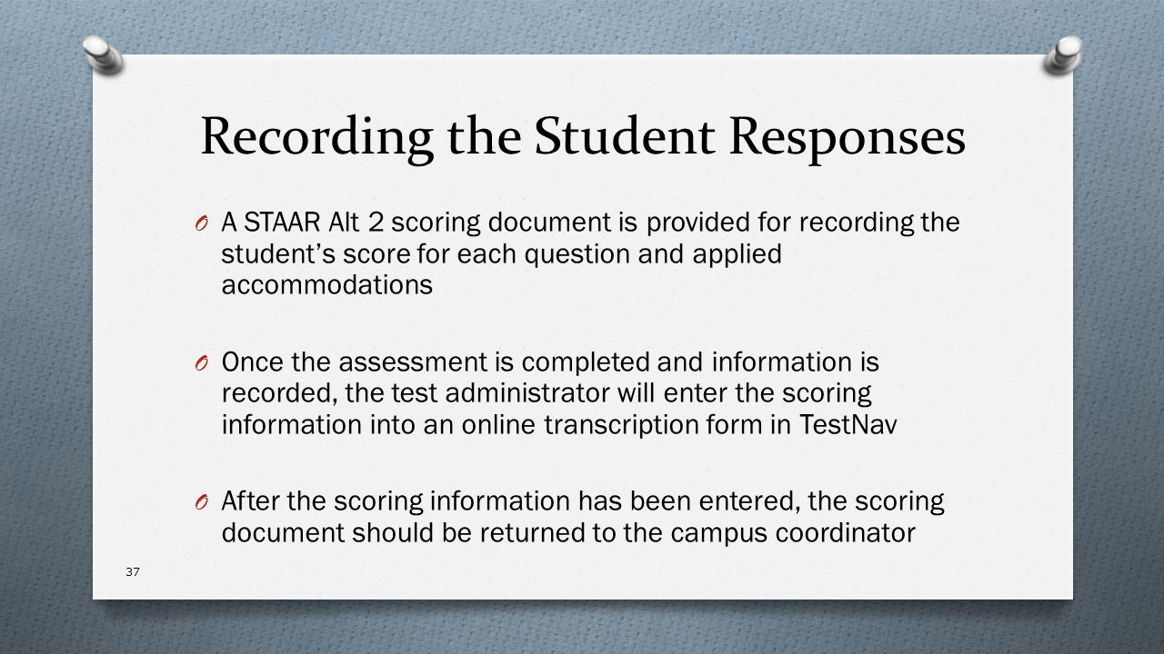 Recording the Student Responses