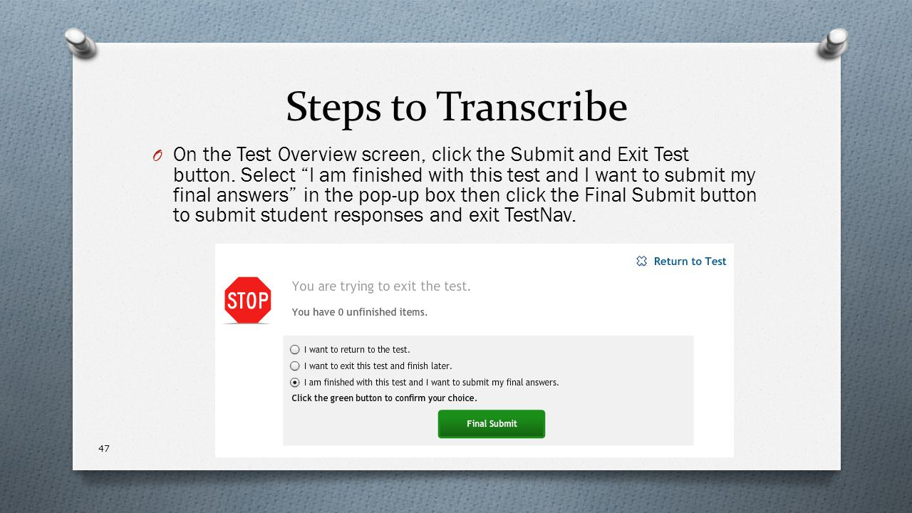 Steps to Transcribe