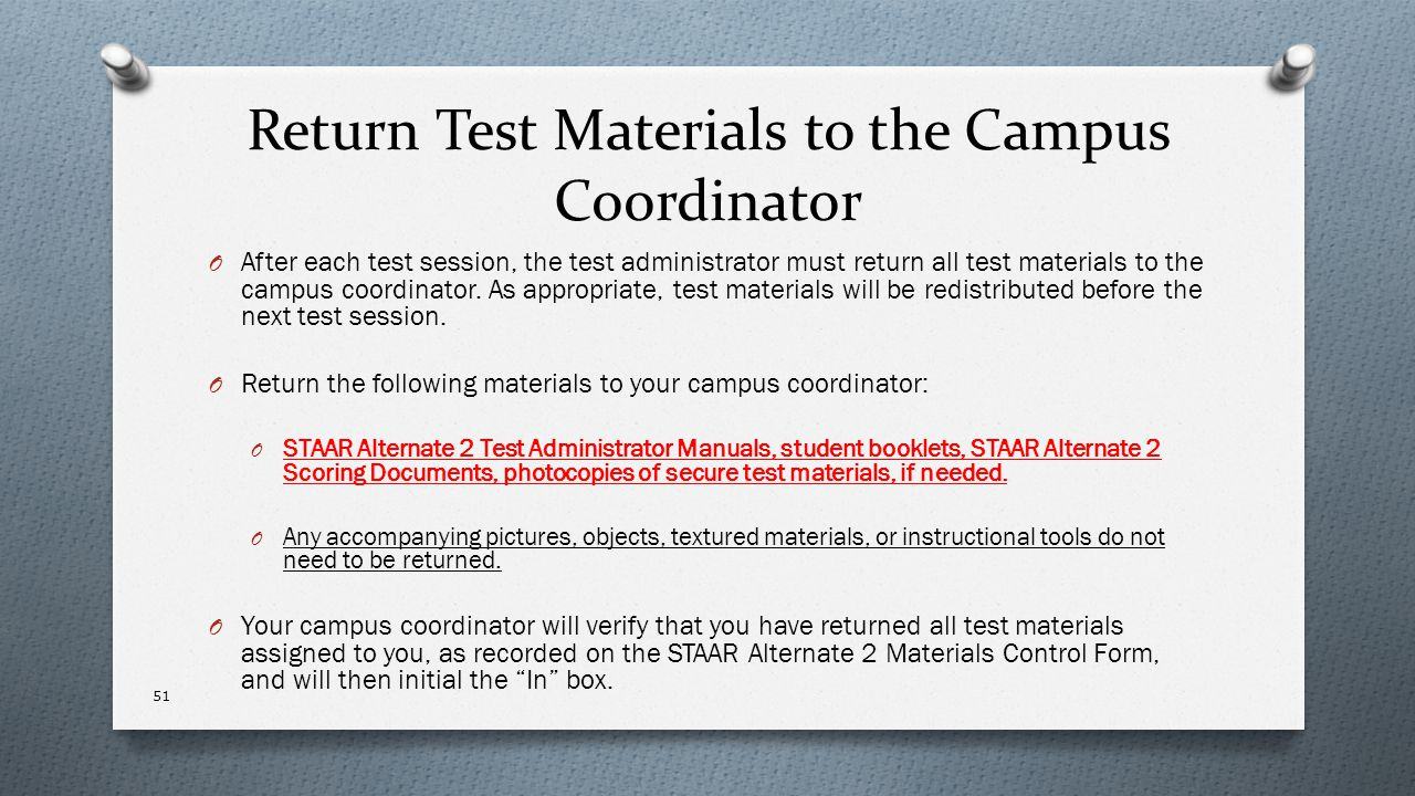 Return Test Materials to the Campus Coordinator