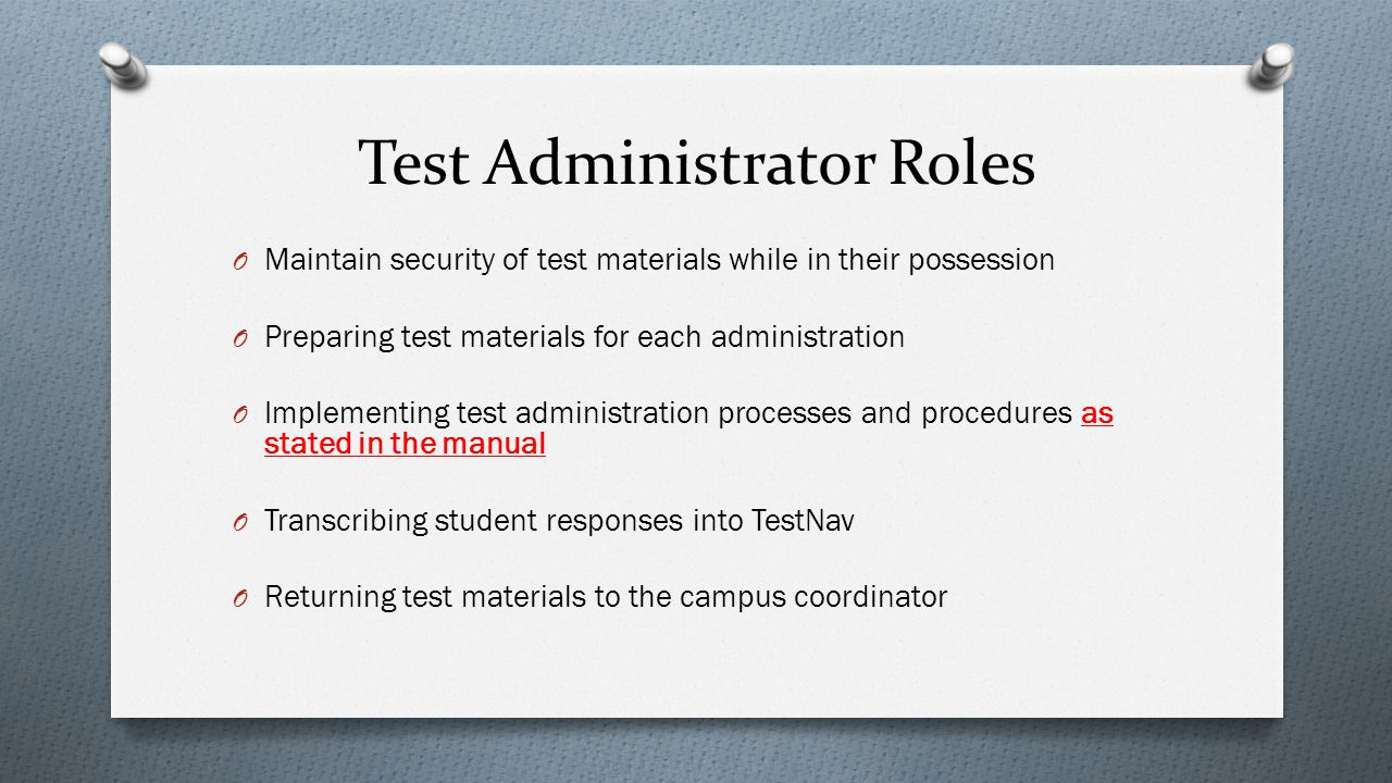 Test Administrator Roles