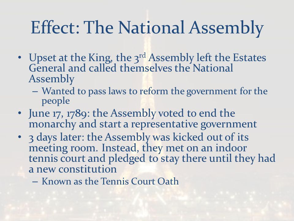 Effect: The National Assembly