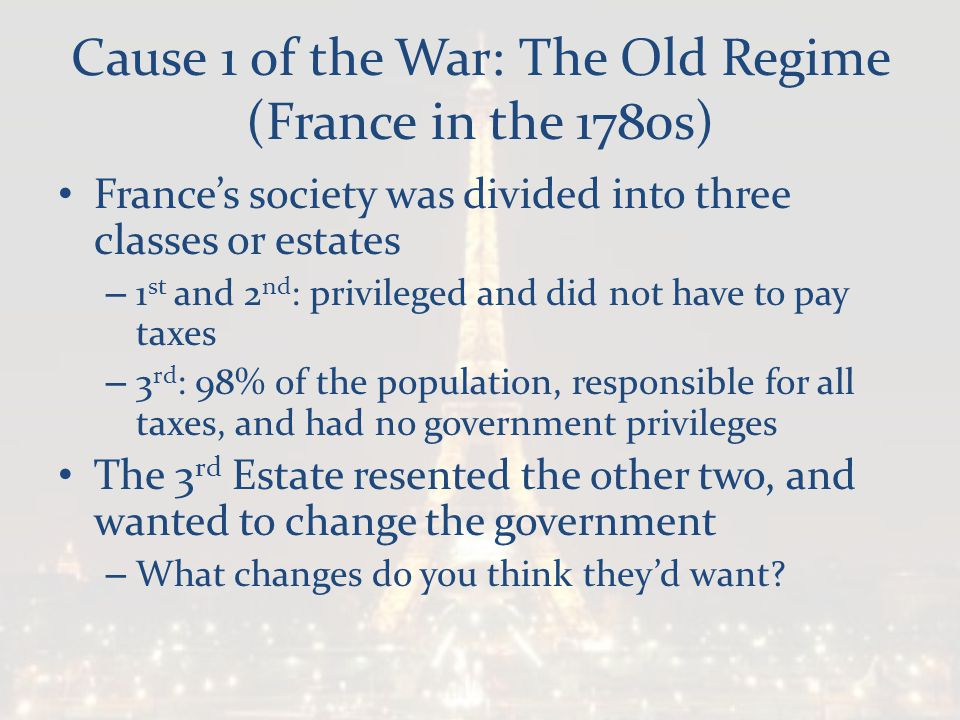Cause 1 of the War: The Old Regime (France in the 1780s)