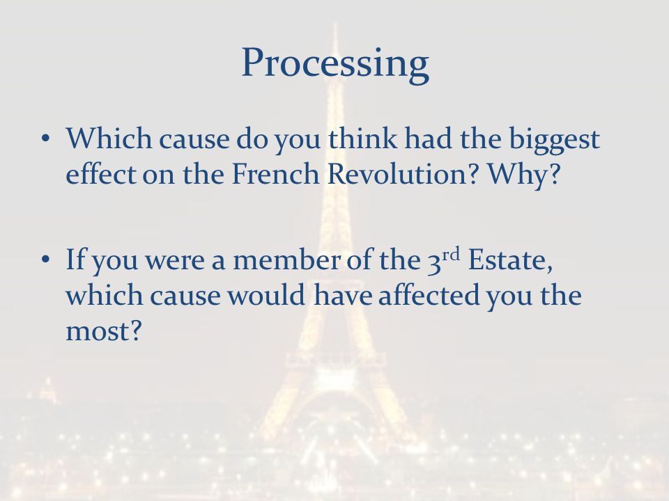 Processing Which cause do you think had the biggest effect on the French Revolution Why