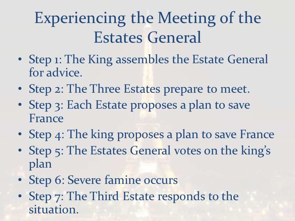 Experiencing the Meeting of the Estates General