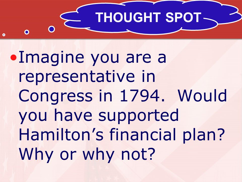 THOUGHT SPOT Imagine you are a representative in Congress in 1794.