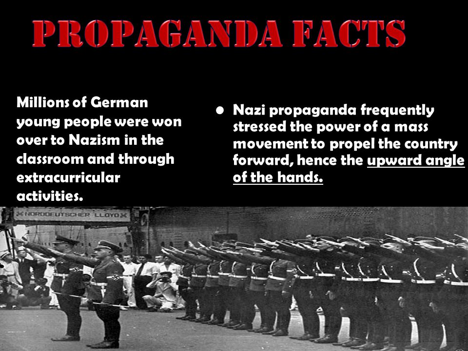 Propaganda Facts Nazi propaganda frequently stressed the power of a mass movement to propel the country forward, hence the upward angle of the hands.