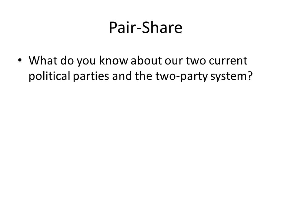 Pair-Share What do you know about our two current political parties and the two-party system