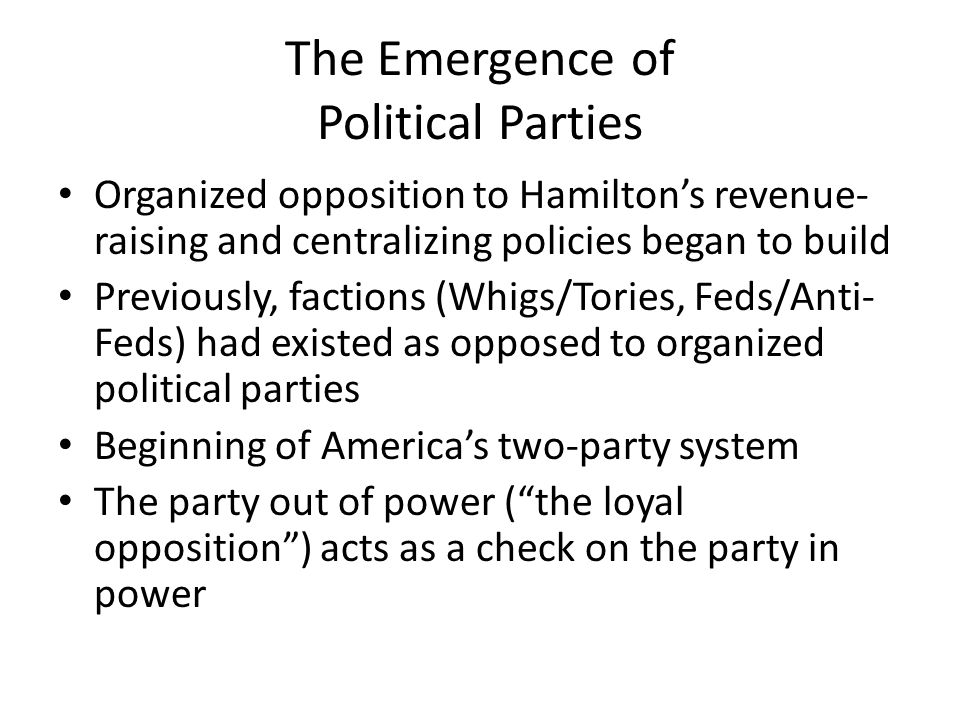 The Emergence of Political Parties