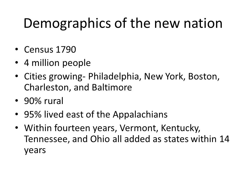 Demographics of the new nation