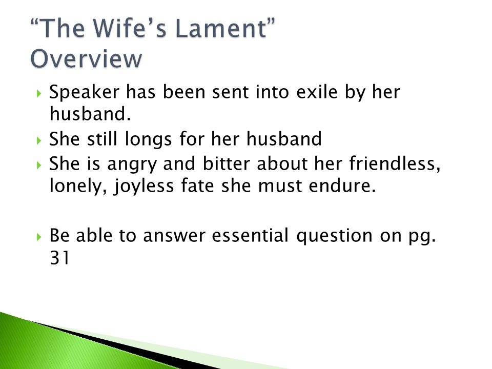 The Wife's Lament Overview