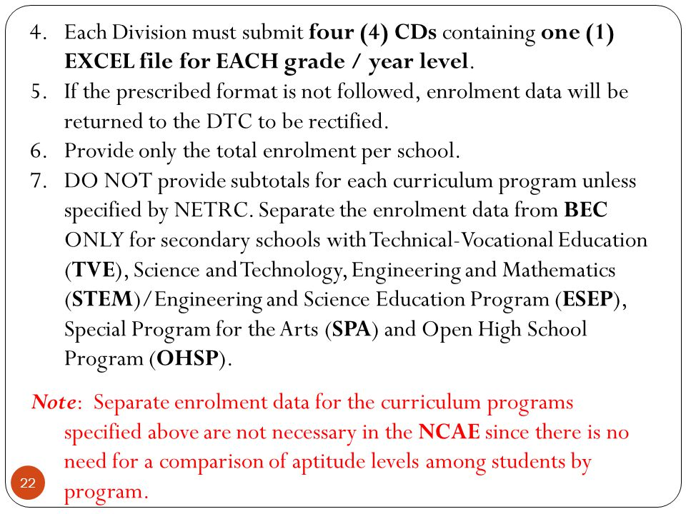 Each Division must submit four (4) CDs containing one (1) EXCEL file for EACH grade / year level.