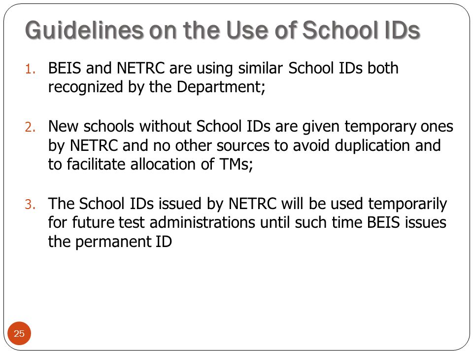 Guidelines on the Use of School IDs