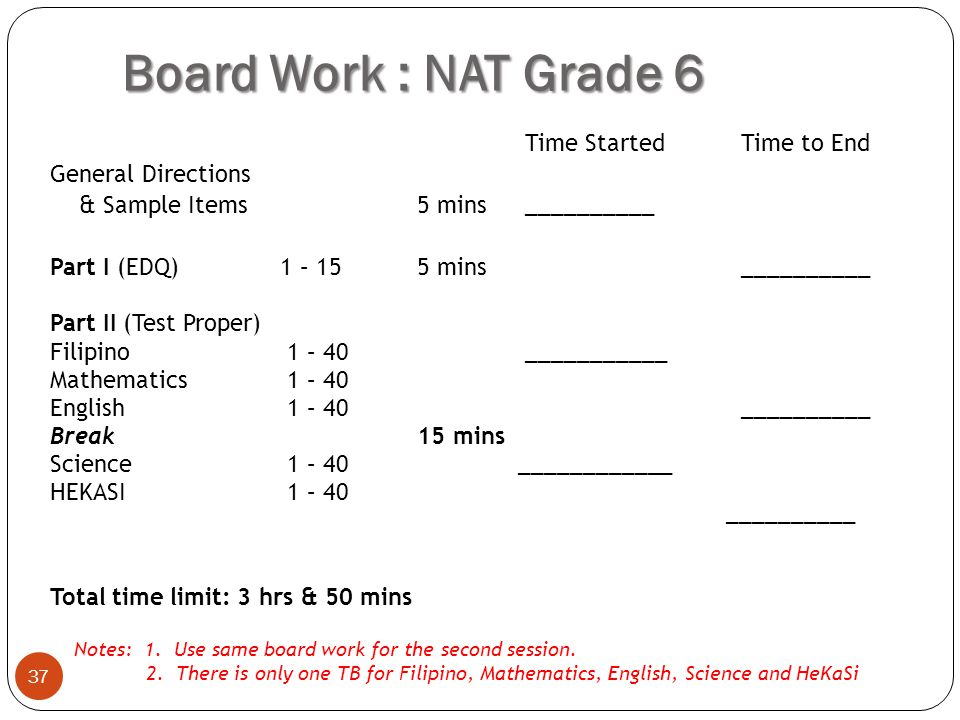 Board Work : NAT Grade 6 General Directions