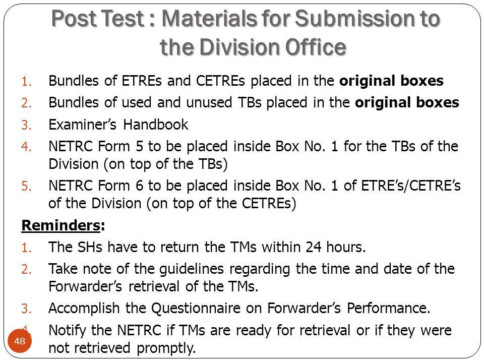 Post Test : Materials for Submission to the Division Office