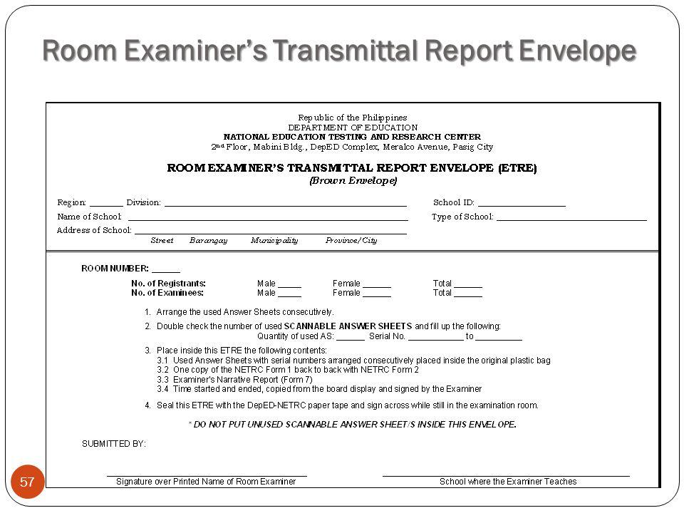 Room Examiner's Transmittal Report Envelope
