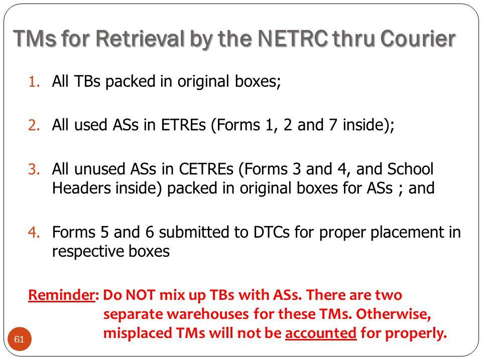 TMs for Retrieval by the NETRC thru Courier