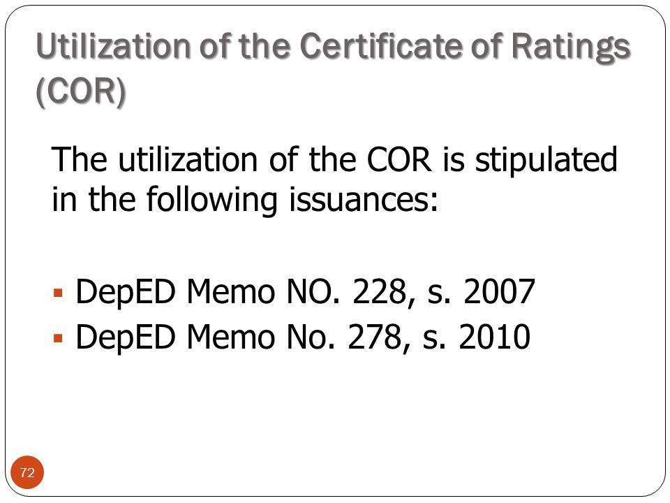Utilization of the Certificate of Ratings (COR)