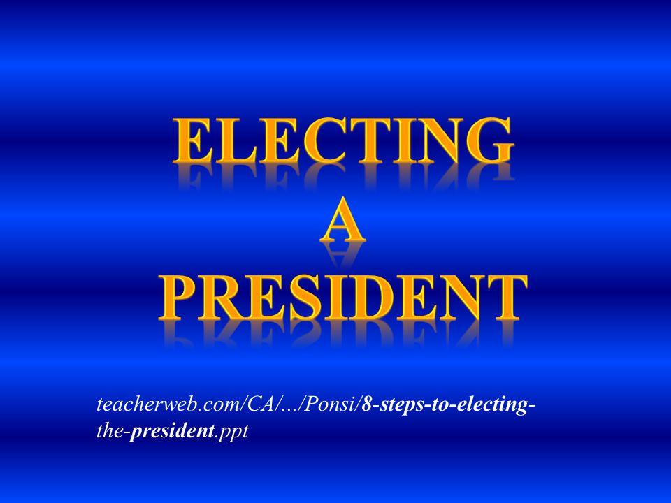 Electing a president teacherweb.com/CA/.../Ponsi/8-steps-to-electing-the-president.ppt