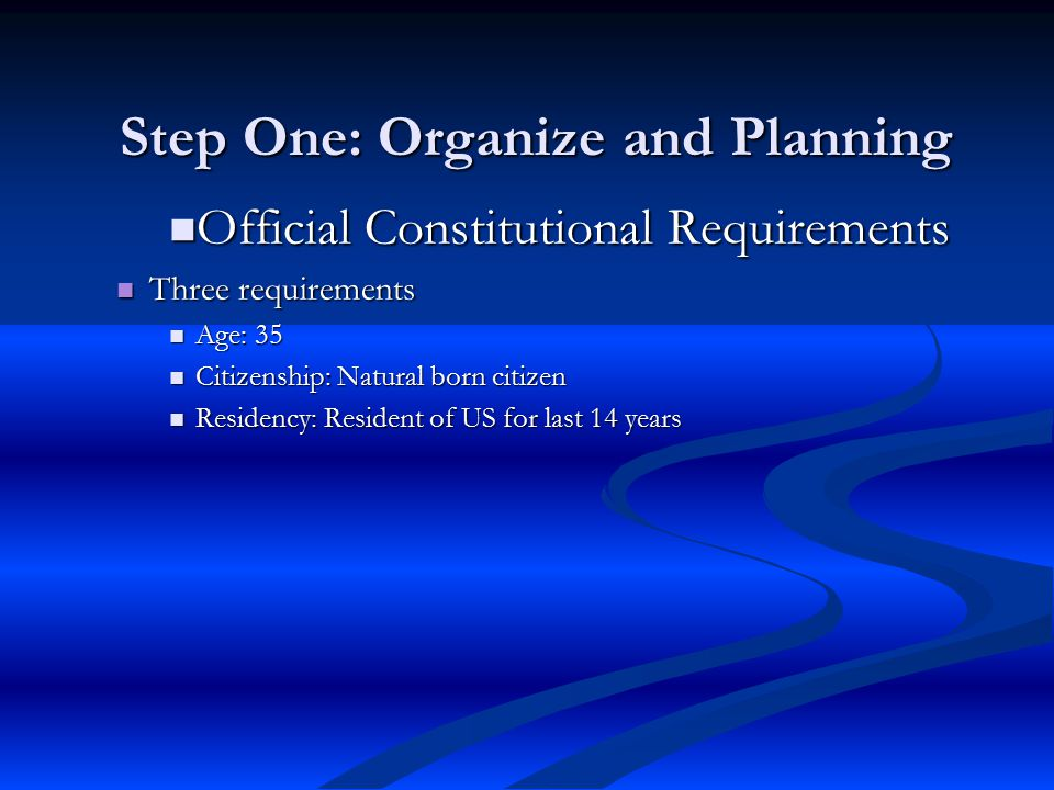 Step One: Organize and Planning