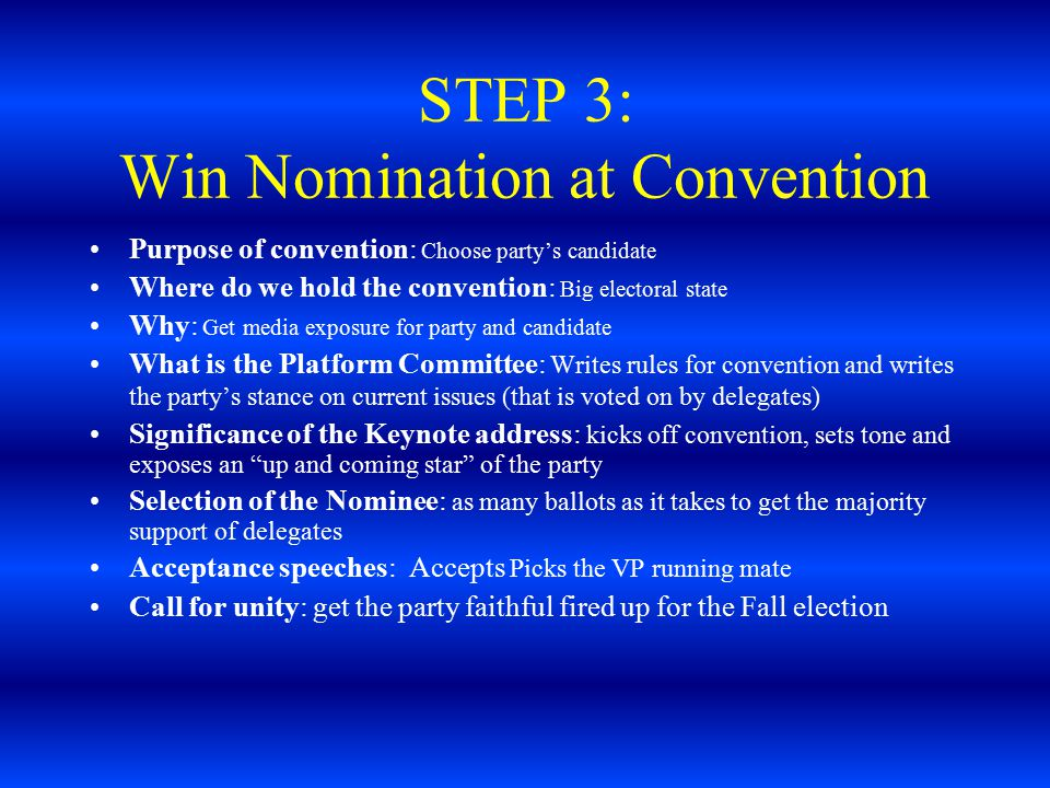 STEP 3: Win Nomination at Convention