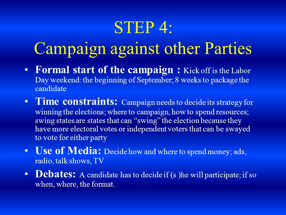 STEP 4: Campaign against other Parties