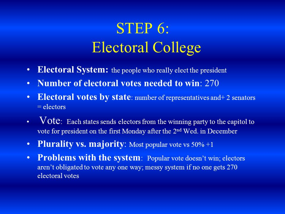 STEP 6: Electoral College