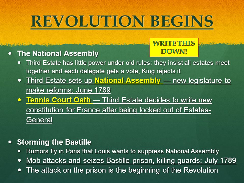 REVOLUTION BEGINS The National Assembly