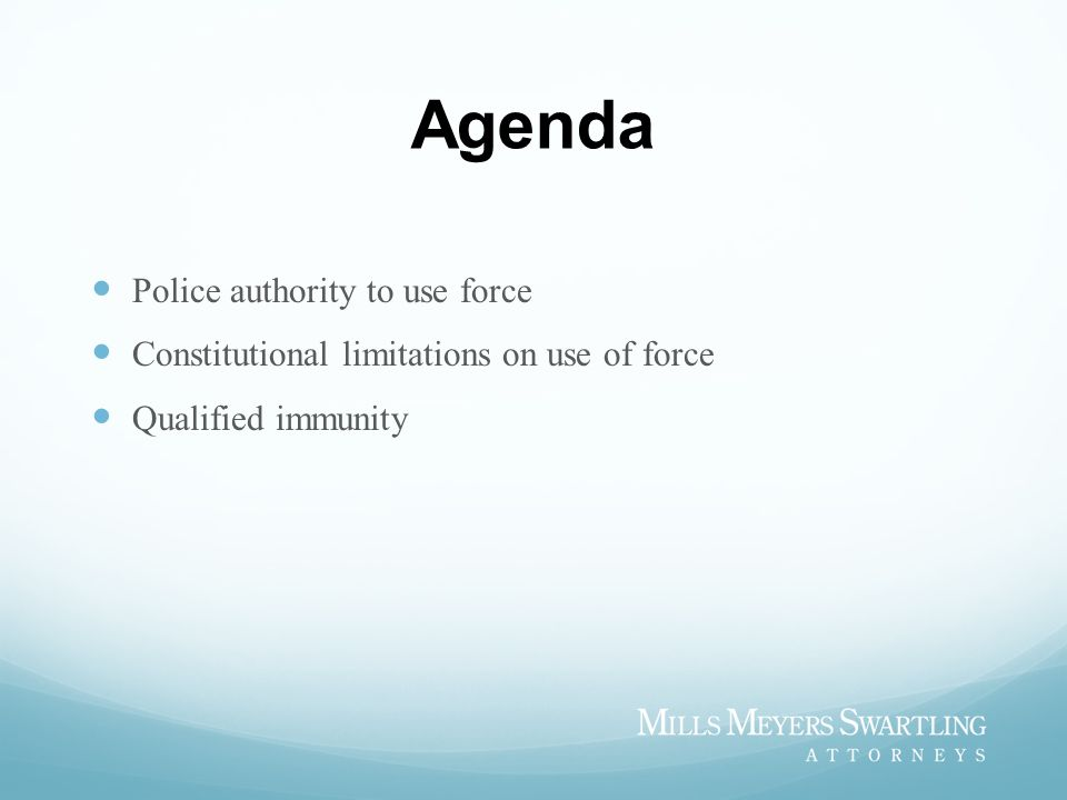 Agenda Police authority to use force