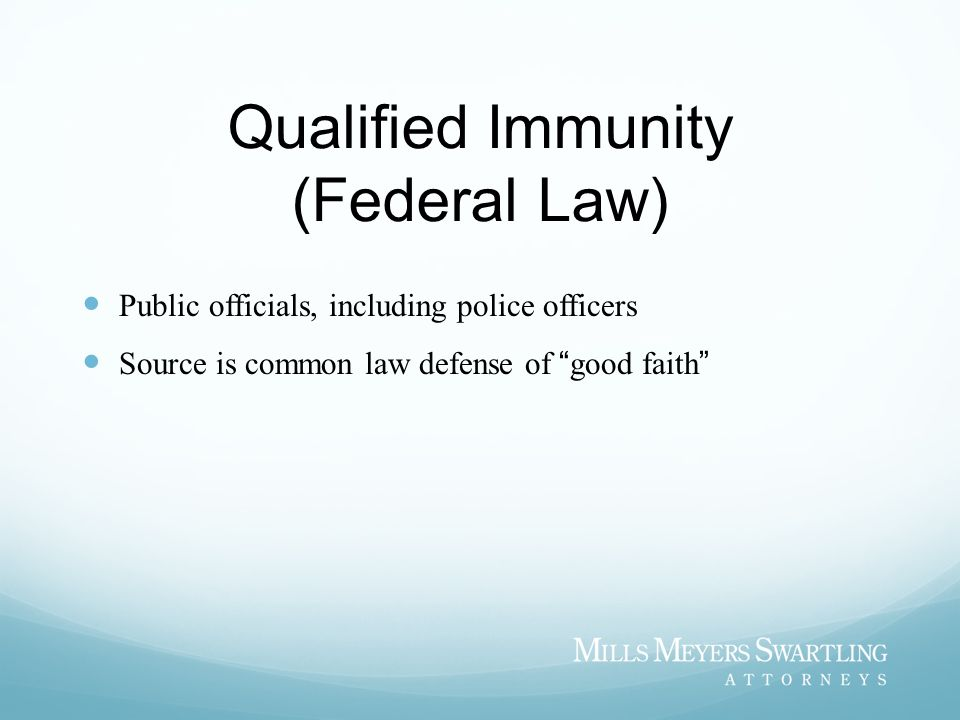 Qualified Immunity (Federal Law)