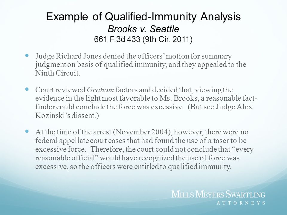 Example of Qualified-Immunity Analysis Brooks v. Seattle 661 F