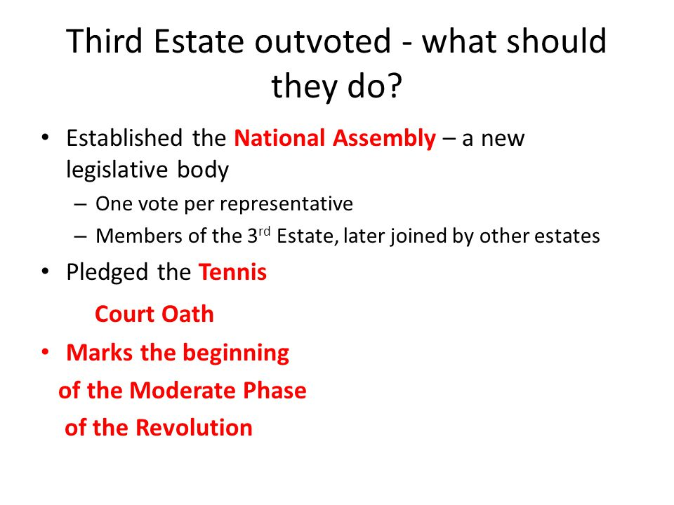 Third Estate outvoted - what should they do