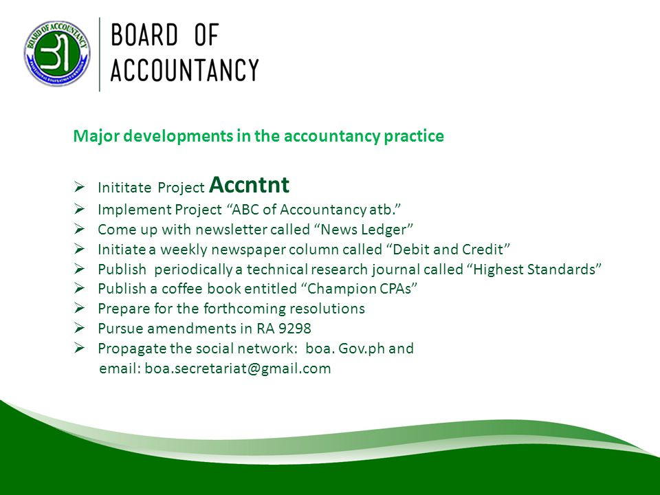 Major developments in the accountancy practice
