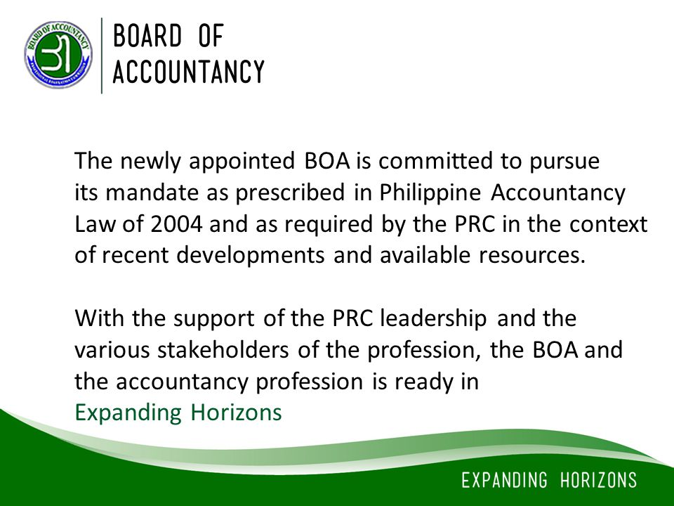 The newly appointed BOA is committed to pursue