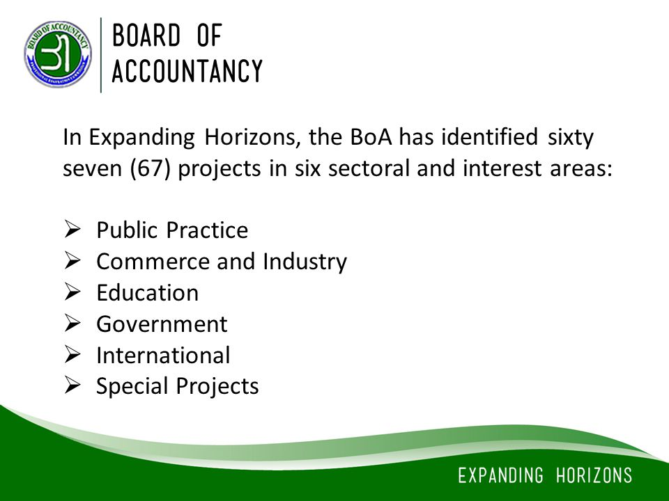 In Expanding Horizons, the BoA has identified sixty seven (67) projects in six sectoral and interest areas: