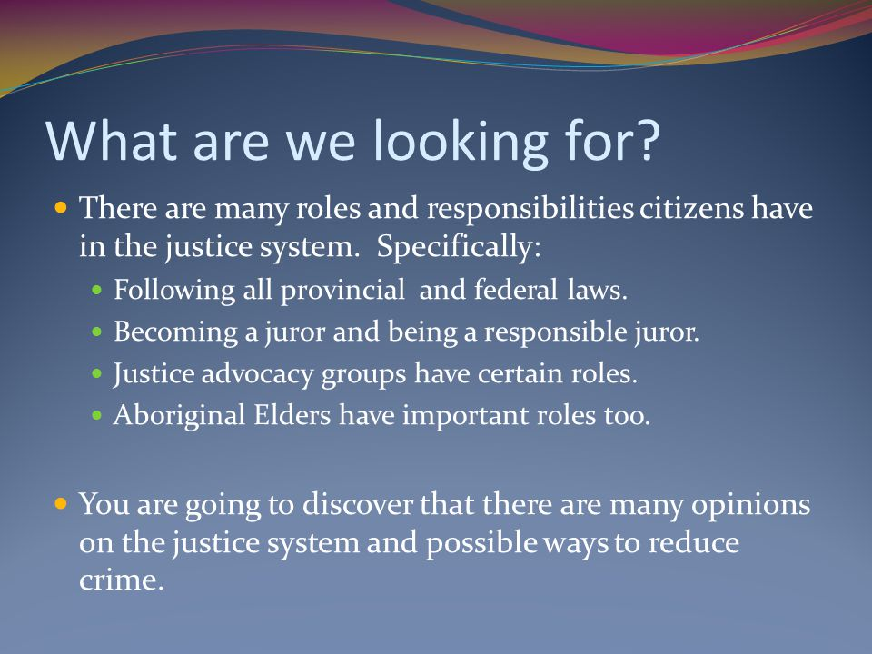 What are we looking for There are many roles and responsibilities citizens have in the justice system. Specifically: