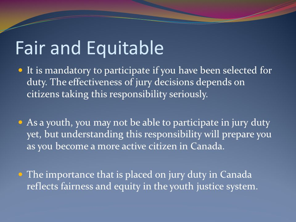 Fair and Equitable
