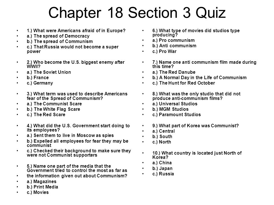 Chapter 18 Section 3 Quiz 1.) What were Americans afraid of in Europe