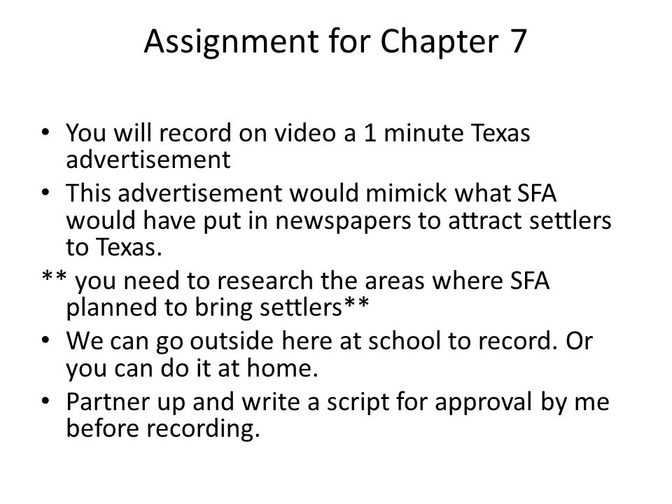 Assignment for Chapter 7