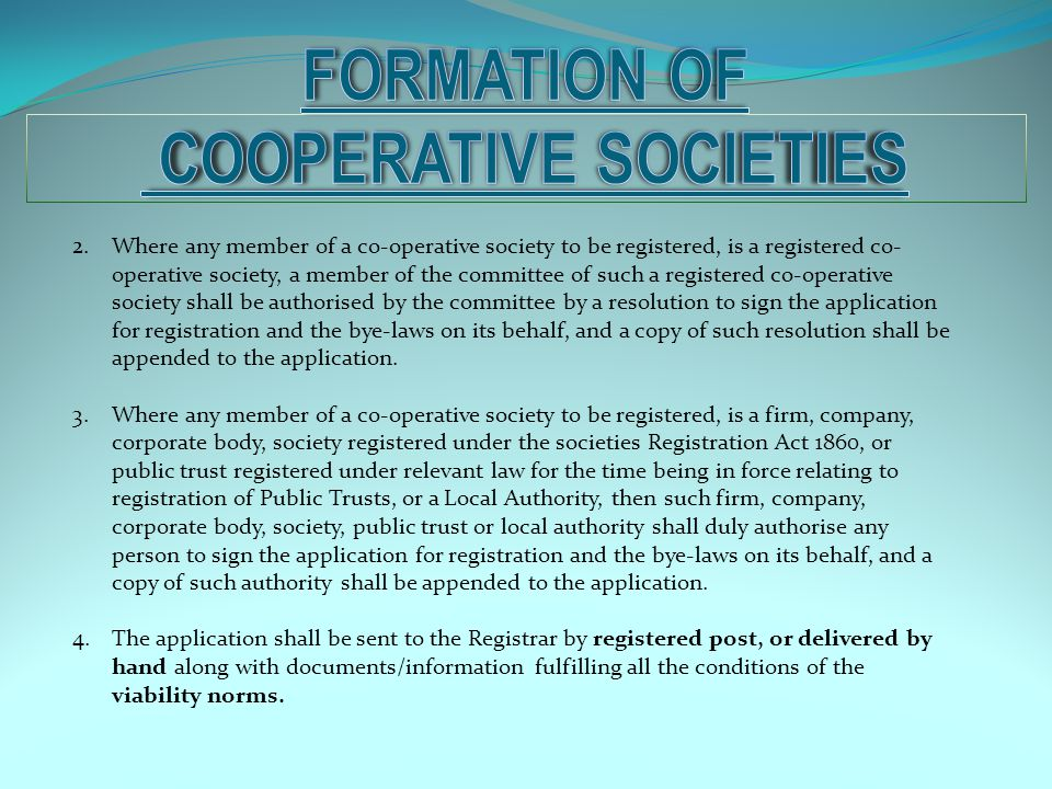 FORMATION OF COOPERATIVE SOCIeTIEs