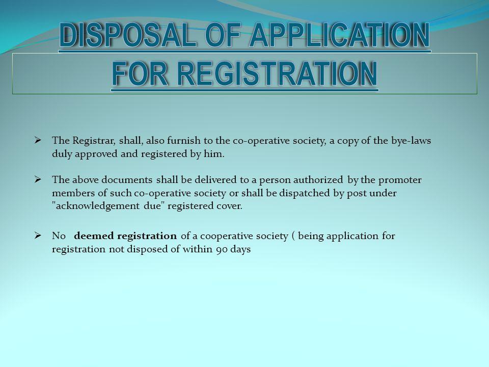 Disposal of application for registration