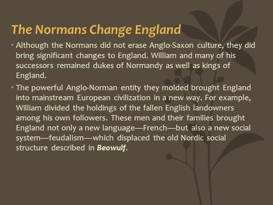 The Normans Change England